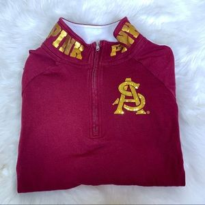 VS PINK ASU Quarter Zip Sweatshirt Sequins Logo